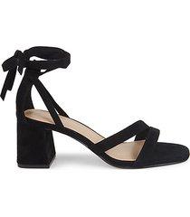 deena tie-ankle suede sandals
