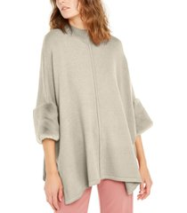 alfani faux-fur-cuff poncho, created for macy's