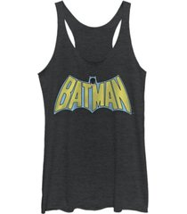 fifth sun dc batman retro cape logo tri-blend women's racerback tank