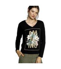 camiseta energia fashion manga longa plus size feminina