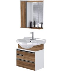 conjunto de banheiro rorato firenze, nogal 63,5 cm