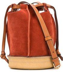 lanvin bolsa bucket com ajuste no cós de camurça - laranja