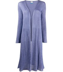 m missoni ribbed-knit cardigan - purple