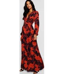 tall bloemenprint maxi jurk met knopen en laag decolleté, marineblauw