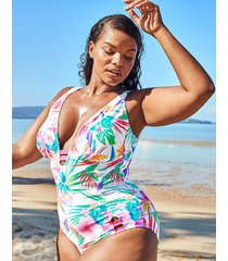 bora bora curve non wired plunge tummy control one-piece swimsuit