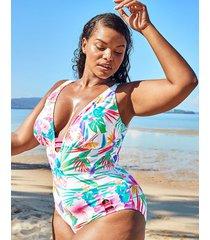 bora bora curve non wired plunge tummy control one-piece swimsuit