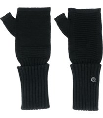 stone island shadow project ribbed-knit fingerless gloves - black