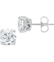 14k white gold & 3 tcw lab-grown solitaire stud earrings