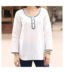 cotton blend tunic, 'carefree ivory' (india)