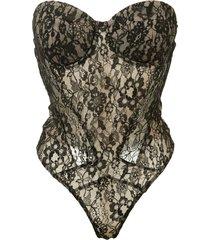kiki de montparnasse strapless lace bodysuit - black