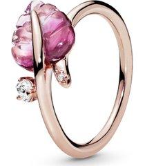 anel pandora rose™ folha de murano rosa