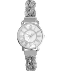 charter club women's silver-tone braided mesh bracelet watch 32mm, created for macy's