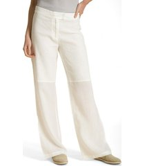 pantalon recto de lino blanco rockford