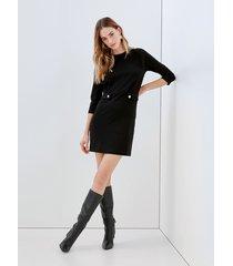 motivi vestito corto con mostrine in vita donna nero