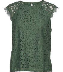 top pearl blouses short-sleeved grön lindex
