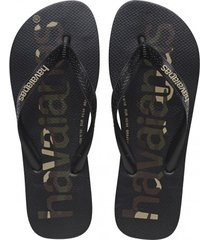 havaianas slipper top logomania black black white