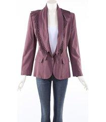 jean paul gaultier femme purple fringe blazer jacket purple sz: m