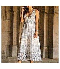 block-printed viscose a-line dress, 'elegant forest' (india)