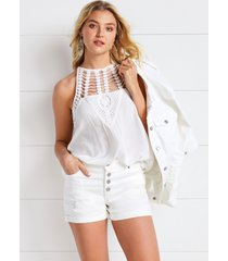 maurices womens high rise white button fly 3.5in shorts