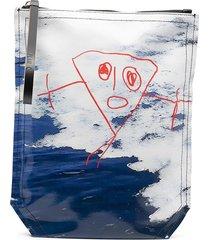 plan c hand drawing print clutch - blue