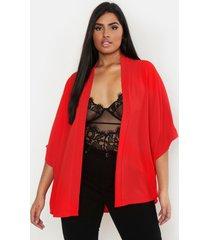 plus geweven kimono, rood