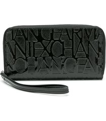 armani exchange embossed logo wallet - black