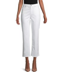 eileen fisher women's straight ankle-crop stretch-organic cotton jeans - white - size 14
