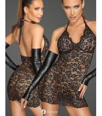 * noir handmade kanten jurkje met diepe halslijn