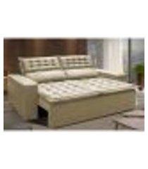 sofá 3 lugares retrátil e reclinável cama inbox slim 1,80m velusoft bege