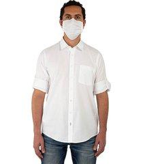 kit camisa unicolor regular fit y tapabocas para hombre 06394