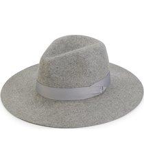 saks fifth avenue women's wide-brim wool fedora - grey