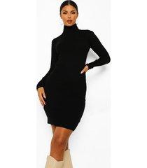 gebreide jurk met col, black