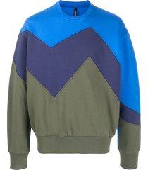 neil barrett light bond modernist panelled sweatshirt - blue