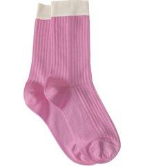 women's italian silky blend color block crew socks