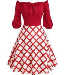 frilled off shoulder plaid a line retro dress