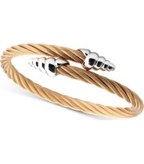 charriol cable bypass bracelet in 18k rose gold pvd stainless steel & sterling silver