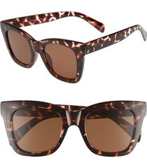 women's quay australia after hours 50mm square sunglasses - tort / brown