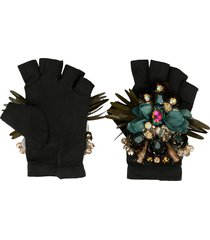 biyan embellished padded gloves - black
