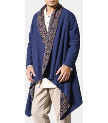 trench wearable da uomo in cotone lino camicia cardigan reversibili vestiti etnici casual