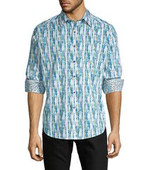 robert graham men's classic-fit chevron long sleeve shirt - blue multi - size s
