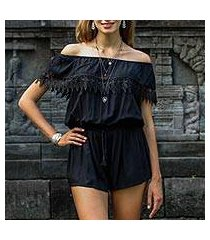 rayon off-shoulder romper, 'city queen' (indonesia)