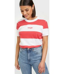 wrangler striped high rib paradise pink t-shirts