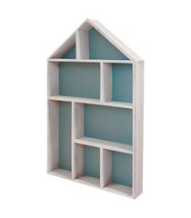 quadro estante casinha azul de madeira