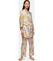 satin floral spot print robe dressing gown - denim