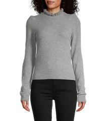 frame women's josefine ruffleneck cashmere sweater - grey heather - size l