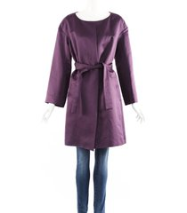 chloe purple linen cotton tie belt coat purple sz: m