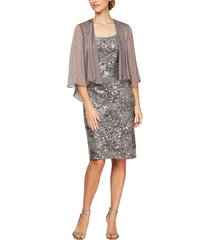 women's alex evenings shimmering floral lace sheath dress with jacket
