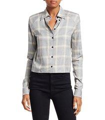 rta women's maxine plaid shirt - grey plaid - size s