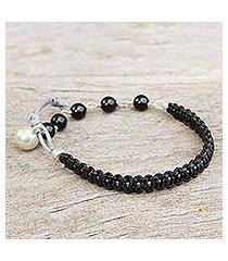 leather and onyx bracelet, 'fantasy eclipse' (thailand)
