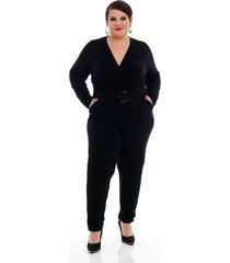 roupas plus size domenica solazzo macacão preto